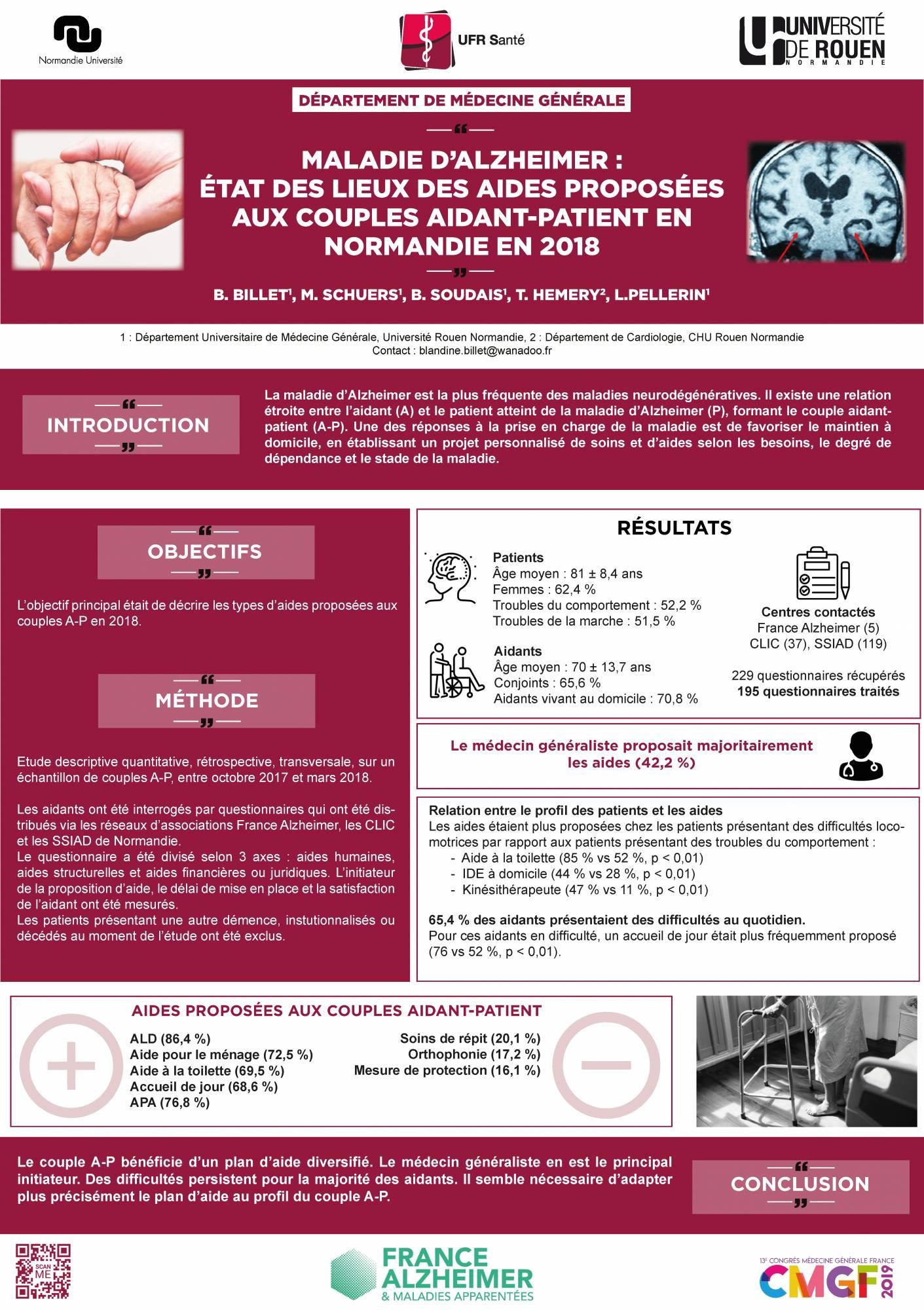 Billet B, Schuers M, Soudais B, Hemery T, Pellerin L. Maladie d'Alzheimer : état des lieux des aides proposées aux couples aidant-patient en Normandie en 2018. Poster présenté au : CMGF 2019. 13ème Congrès de Médecine Générale France. 04 avril 2019; Paris, France.